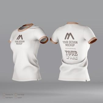 分離された女性のtシャツのモックアップ