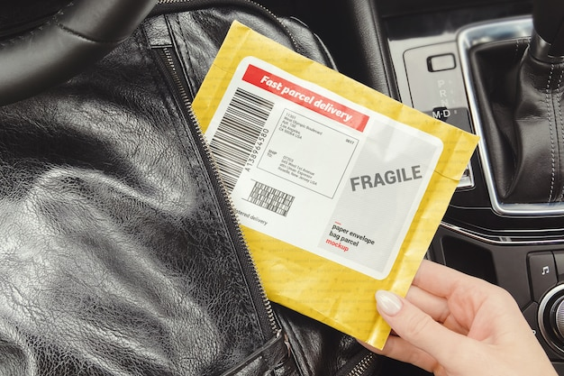 Woman takes a parcel from a backpack mockup