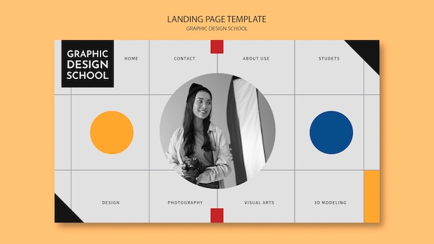 Woman taking agraphic design course landing page