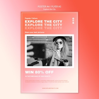 Woman taking a selfie in the city poster template
