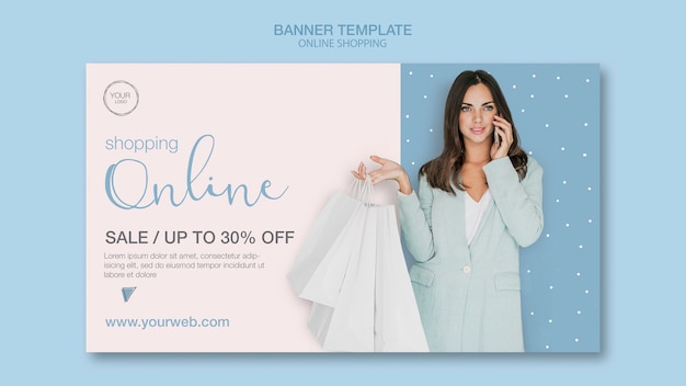 Woman talking on phone banner template