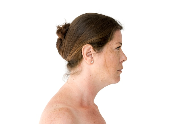 Woman topless studio portrait