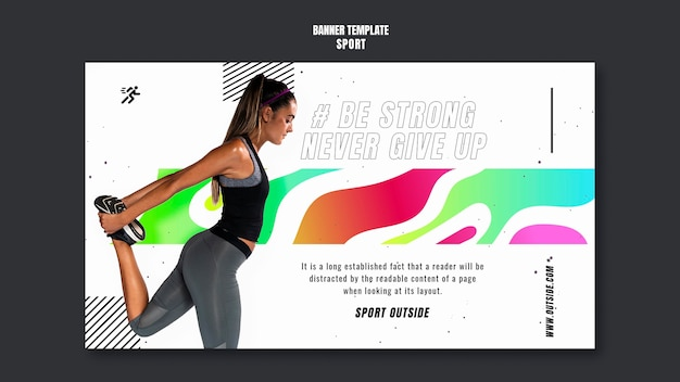 Woman training  banner template