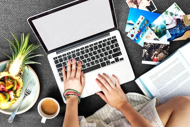 Woman using computer laptop