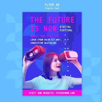 Woman using a virtual reality headset flyer template
