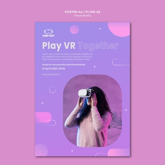 Woman using virtual reality headset poster template