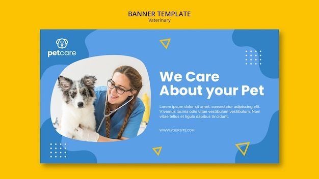 Woman vet and dog veterinary banner template