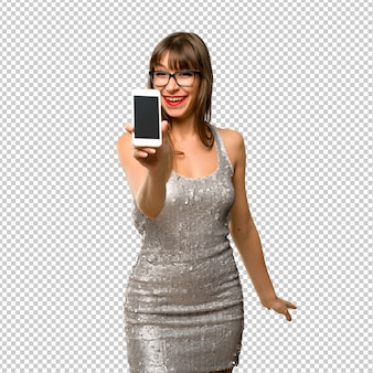 Woman wearing a sequined dress