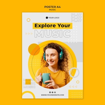 Woman wearing headphones and holding a cup poster