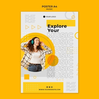 Woman wearing headphones poster template