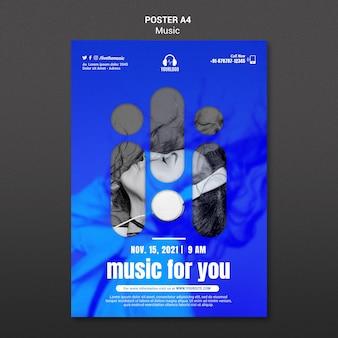 Woman wearing headphones poster template