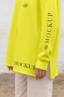 Woman wearing a mock-up hoodie