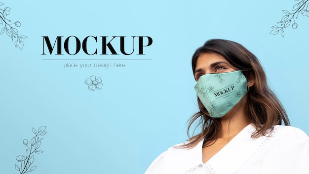 Woman wearing a mock-up medical mask