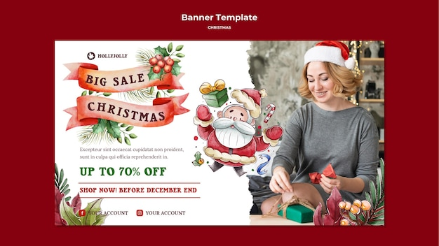 Woman wearing santa hat banner template