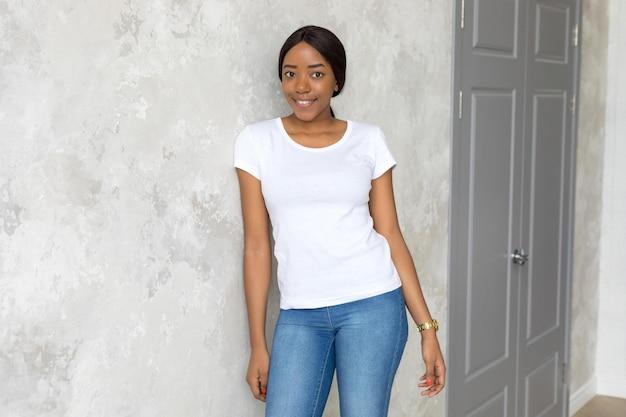 Woman wearing shirts mockup design