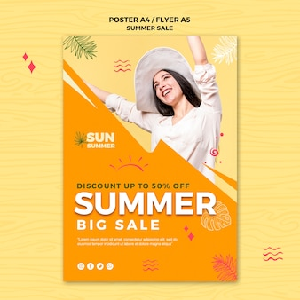 Woman wearing summer clothes sales flyer