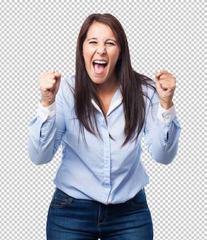 Woman winner gesture
