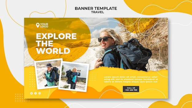 Woman with backpack banner template