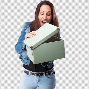 Woman with a box