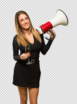 女の子、新年、2019、メガホン、祝う、シャンパン
