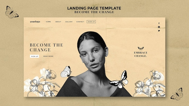 Woman with drawn butterflies landing page