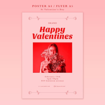 Woman with flowers happy valentine poster