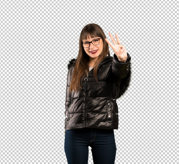 Woman with glasses happy and counting three with fingers