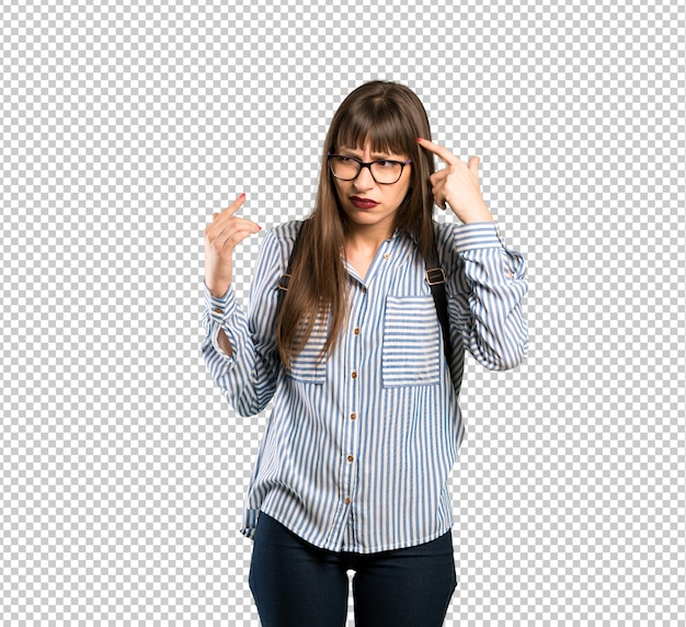 Woman with glasses making the gesture of madness putting finger on the head