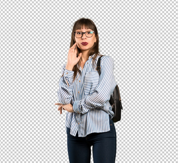 똑바로 보면서 안경 놀된 여자