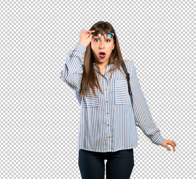 Woman with glasses with glasses and surprised