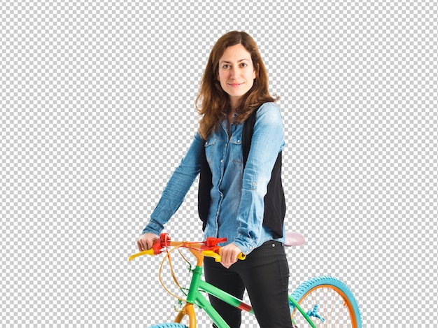 Woman with her colorful bicycle