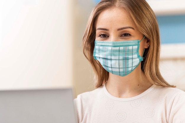 Woman with medical mask concept mock-up