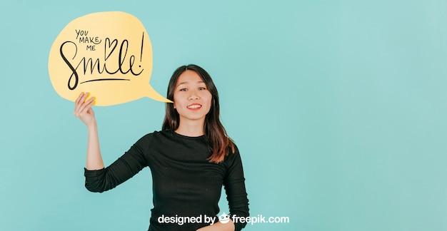 Woman with speech bubble mockup