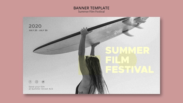 Woman with surf summer film festival banner template