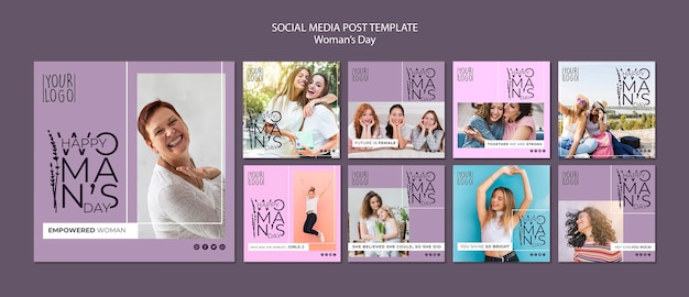 Womans day theme for social media post template