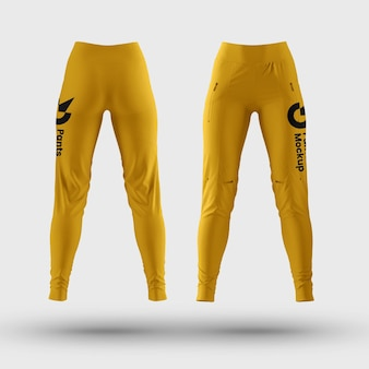 Womans pants mockup front and back view