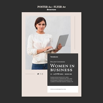 Women in business flyer template