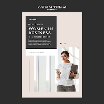 Women in business poster template
