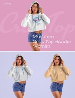 여성 자르기 탑 까마귀 목업. 이미지 디자인 (후디, 슬리브, 몸통)을 커스터마이징하고 모든 요소의 후디와 컬러 톤 팬츠에 색상을 지정하는 것이 쉬운 디자인