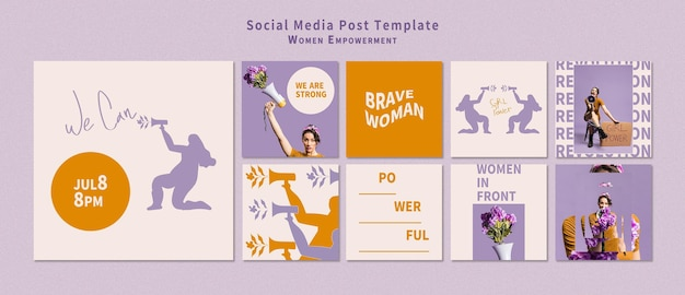 女性のエンパワーメントソーシャルメディアポストパック
