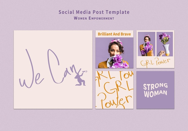 女性のエンパワーメントソーシャルメディア投稿セット