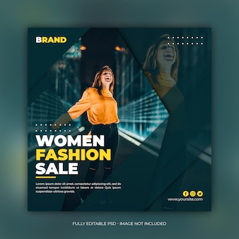 Women fashion sale square banner template