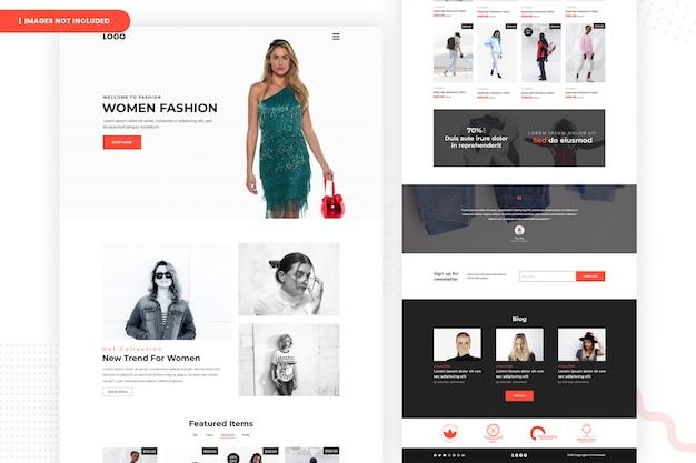 Страница веб-сайта продажи женской моды
