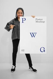 Women holding poster mockup