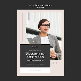 비즈니스 의회 포스터 템플릿 여성