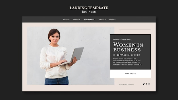 Шаблон целевой страницы женщины в бизнесе