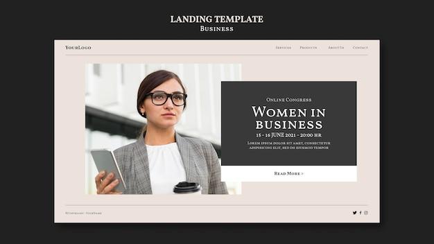 Веб-шаблон женщины в бизнесе