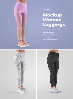 Women leggins mockups. design is easy in customizing images design (for each leg, cuffs and all leggings), color all leggings and sneakers (sole, laces, sneakers, holes) and heather texture.