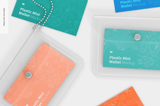 Women plastic mini wallet mockup, close up