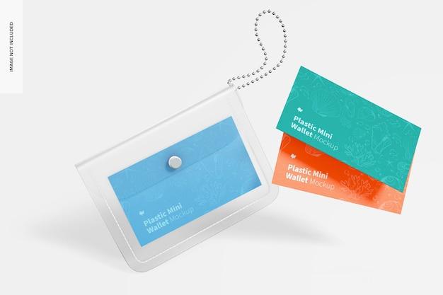 Women plastic mini wallet mockup, falling